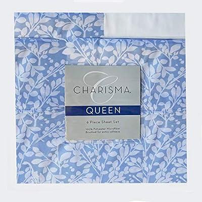 CMA Charisma Queen Blue 6 Piece Blue Boxwood Powder Microfiber 6 Piece Sheet Set for deep Pocket Mattress