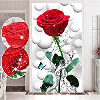 Trayosin 5D DIY ダイヤモンド絵 レッドローズ 手芸 フレームなし フルドリル 画材 インテリア 飾り 壁アート 芸術品 入り口 リビングルーム ホテル (50x100cm)