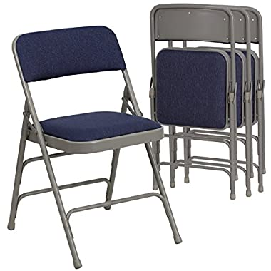 Flash Furniture 4 Pk. HERCULES Series Curved Triple Braced & Double Hinged Navy Fabric Metal Folding Chair