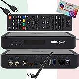 TiVuSat Tarjeta 4K UHD activada + DIGIQuest Q60 Combo 4K H.265 S2+T2 HEVC Set-Top Box, receptor TiVuSat certificado con tarjeta, reproductor multimedia, WebRadio, USB PVR, 150Mbit WiFi, EasyMouse HDMI