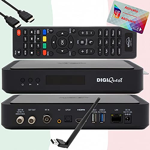 TiVuSat Scheda 4K UHD attivata + ricevitore DIGIQuest Q60 Combo 4K H.265 S2+T2 HEVC Set-Top Box, ricevitore certificato TiVuSat con schede, Mediaplayer, WebRadio, USB PVR, 150Mbit WiFi, EasyMouse HDMI
