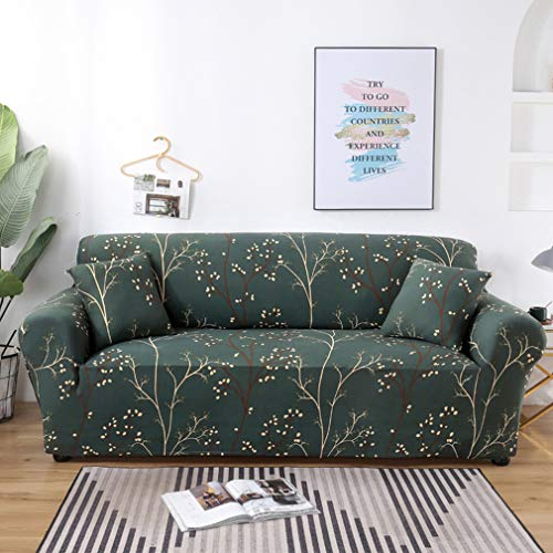Chozan Pattern Sofa Slipcovers Stretch Printed Sofa Cover with 2 Pillowcases for 4 Seat Cushion Couch Furniture Pet Protector Anti-Slip Stylish Spandex Cover(Elegance, Sofa-4 Seater)
