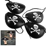 Xrten 12 Piezas Parche de Ojo de Pirata Ajustable para Halloween Cosplay Fiesta para Adultos y Niños, Negro