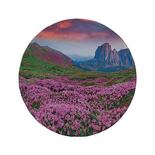 Alfombrilla de ratón Redonda de Goma Antideslizante Naturaleza Colorido Campo de Flor en el Arte de la mañana Grand Dramatic Mountains Canyon Verde Rosa 7.9'x7.9'x3MM