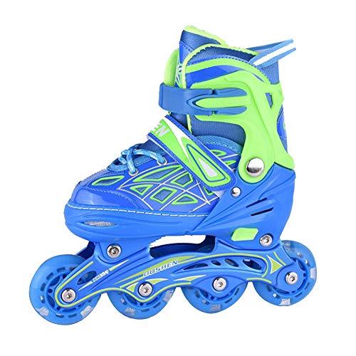 Inline Skates Damen - Inliner Kinder - Original Inline Skates Herren Skates ABEC7 Rollen Kohlenstoff inliner mit Einstellbarer Größe Inliner Damen Inline Skates,Blau,L