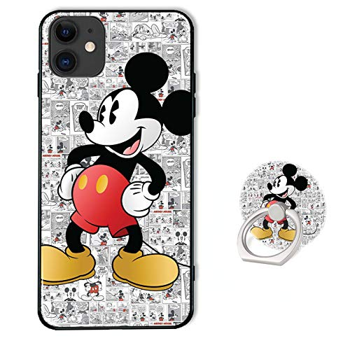Cute Phone Case for iPhone 12/12 Pro with Ring Holder Kickstand,Soft TPU Rubber Silicone Protective Cover for iPhone 12/12 Pro 6.1 inch - Disney Mickey Mouse Pattern