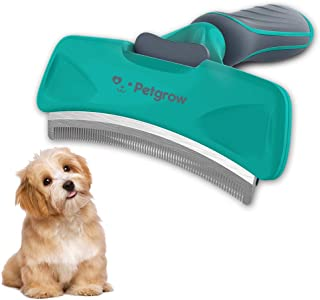 Petgrow Pet Grooming Brush Deshedding Tool with Cleaning Button for Dogs Cats, Dog Brushes with Stainless Safety Comb Blade for Small, Medium and Large Pets