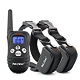 Petrainer PET998DRU2 Dog Training Collar with Remote Shock Collar for Dogs Bark Collar with Beep Vibration Shock Electric Dog E Collar, 1000FT Remote Range