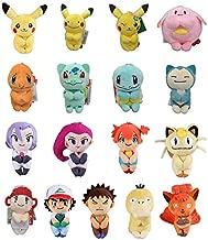 Pitaya. 20/Lot 17 Styles Pikchu Vulpix Psyduck Meowth Ash K Um Brock James Misty 12Cm Plush Keychain Toy -Complete Series Merchandise