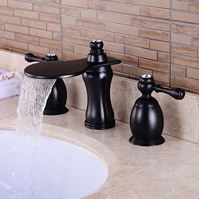 Schwarz Bronze Becken Wasserhahn drei-Loch Wasserhahn Retro-Waschbecken Wasserhahn Bad dreiteilige heies und kaltes Wasser Wasserfall Wasserhahn B