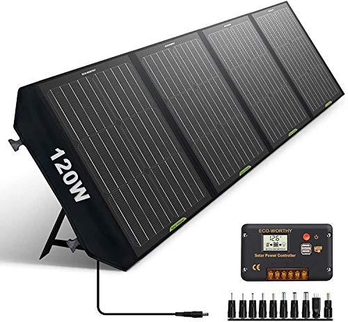 ECO-WORTHY ソーラーパネル 120W 折りたたみ式 ソーラーチャージャー 単結晶 ポータブル電源 20Aコントローラー 太陽光パネル USB出力 防水 耐高温 軽量 急速充電 アウトドア/災害/地震/非常用充電用