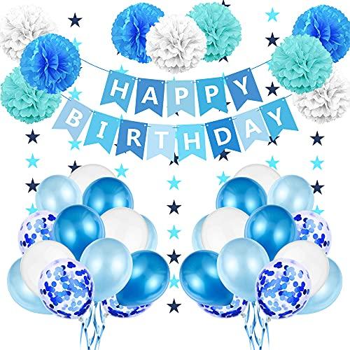 Globos de Cumpleaños Azules, Decoracion Cumpleaños Niño, Globos de Fiesta Cumpleaños Infantil, Guirnalda Feliz Cumpleaños, Adornos Cumpleaños, Globos Azules y Pompones para niños 1 año, 2 años