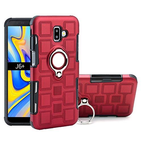Capa para Galaxy J6 Plus, YINCANG híbrida PC + capa de silicone TPU macio com suporte de anel giratório de 360° e capa protetora de placa de metal com sucção magnética para Samsung Galaxy J6 Plus/Galaxy J6+ (2018) 6 polegadas, vermelha