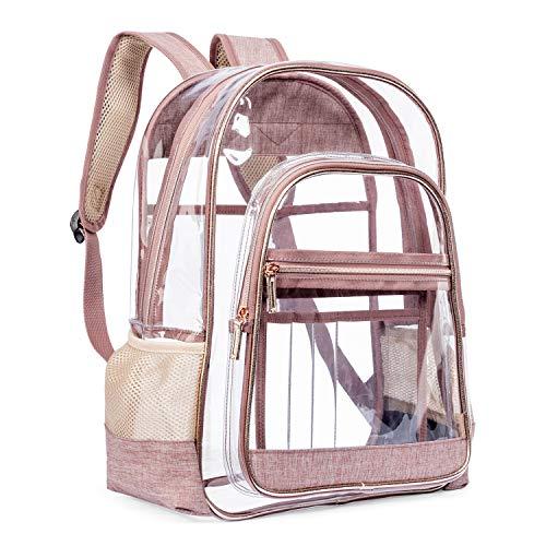 LOKASS Clear Backpack Transparent Multi-Pockets Backpacks/Outdoor Backpack Fit 15.6 inch Laptop Safety Travel Rucksack with Rose Gold Trim-Adjustable Straps(Rose Gold)