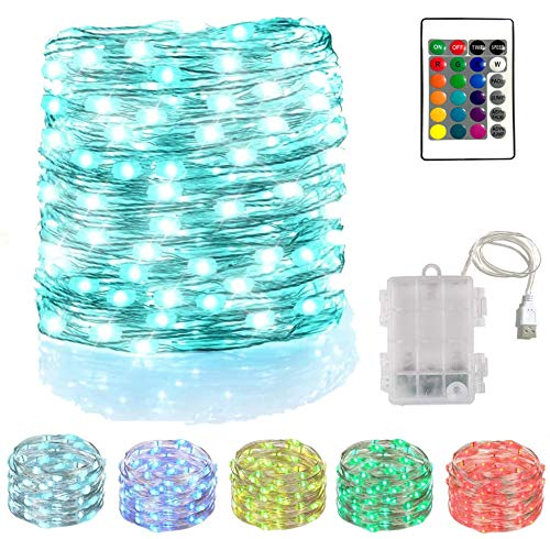 New Fairy Light 40 Feet 120 LED 16 Color String Lights with Remote Control for Bedroom/Patio/Garden/Lawn/Parasol/Bar, Birthday Wedding Christmas Holiday Party Decoration Lights (1, 40 Ft 120 LED)