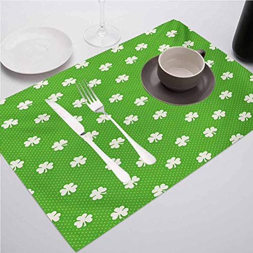 FloraGrantnan 3D Print DIY Decorative Placemats Table Mats, Irish Old Fashioned Polka Dots Backdrop with Cult, Great for Everyday Use Inside Or Outside, Set of 6