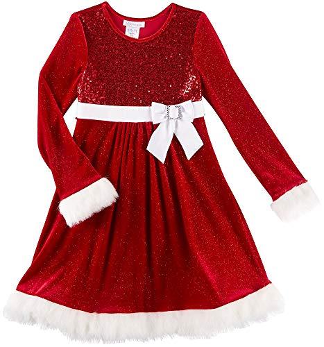 Bonnie Jean Red Sparkle Velvet and Sequin Christmas Dress with Faux Fur Trim 8