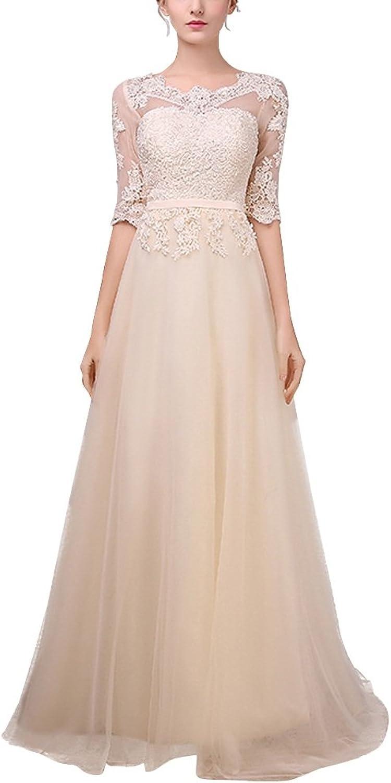 Dasior Women's Appliqued Half Sleeve Scoop Long Bridesmaid Evening Gown