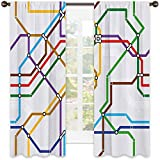Mappa resistente all'usura tenda di colore, strisce in colori Metro Scheme Stazioni della Metropolitana astratto ferroviario, tessuto impermeabile, W42 x L54 pollici multicolore
