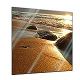 Glasbild - Goldener Strand - 30 x 30 cm - Deko Glas - Wandbild aus Glas - Bild auf Glas - Moderne Glasbilder - Glasfoto - Echtglas - kein Acryl - Handmade -