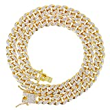Techno Pave Men's ICY 12mm Iced Out Micro Cuban Chain - 14k Gold Tone Micro...