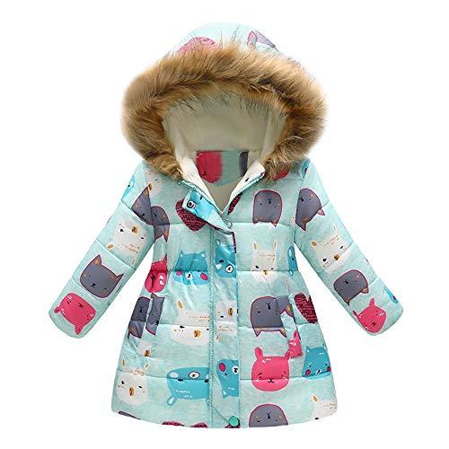 XXYsm XXYsm Kinder Baby Mädchen Jacke mit Kapuze Mantel Winter Coat Cartoon Katze drucken Outwear Steppjacke Minzgrün 150/6-7 Jahre