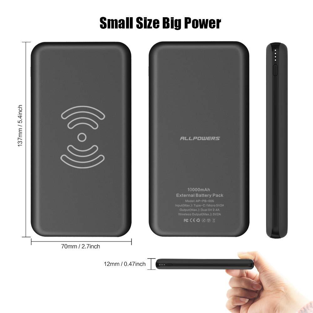 ALLPOWERS Wireless Power Bank 10000mAh Cargador Móvil Portátil Batería Externa Cargador Inalámbrico Rápido con 2 Puertos Entrada Doble para iPhone X/8/8 Plus, Samsung S9/S8, y Todos Móviles con QI: Amazon.es: Electrónica
