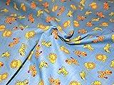 Zoo Time Polycotton-Stoff Kleid Print Blau–Meterware