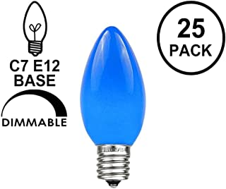 Novelty Lights 25 Pack C7 Outdoor String Light Ceramic Christmas Replacement Bulbs, Blue, C7/E12 Candelabra Base, 5 Watt