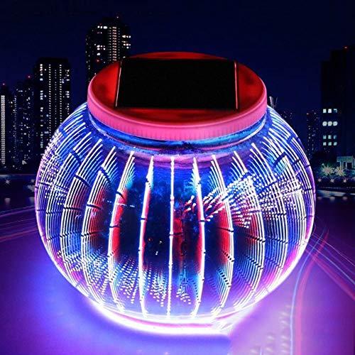 Ranpo - Lámpara solar de cristal para jardín, luz 3D RGB que cambia de color, función de sensor automático, resistente al agua, recargable, para exteriores/interiores, 1 unidad