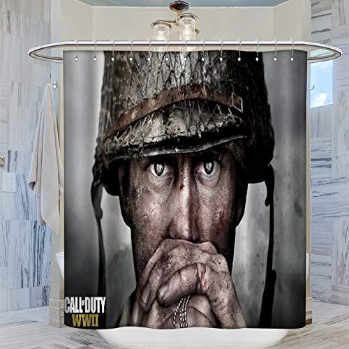 DRAGON VINES Call of Duty WW2 2017 - Cortina de ducha (183 x 183 cm), impermeable, con 12 ganchos de plástico, lavable