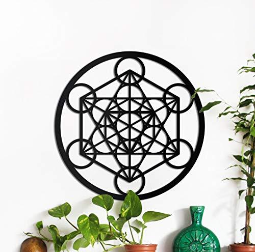 PROSCALE Cubo de Metatron de Madera, Arte para Decorar y Colgar en la Pared. Geometría Sagrada Amuleto de Madera Natural (Cubo de Metatron)