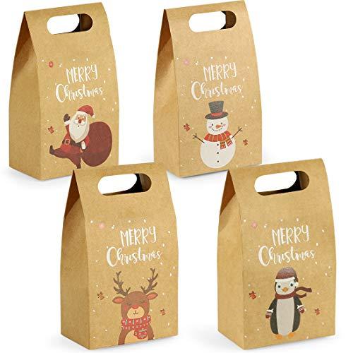 Geschenktüten mit Griff, 24 Weihnachtstüten, Geschenkbox Weihnachten Papiertüte, Kraftpapier Verpackung Weihnachten, Elegant Schokolade SüßIgkeiten Organizer Geschenkbox 10.5 X 6.5 X 17.5 cm