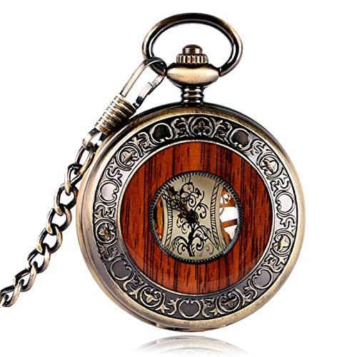 XTQDM Reloj de Bolsillo mecánico Steampunk Elegante de Cuerda Manual de Cobre de diseño Especial Hombres Tallado en Madera círculo Cadena de Moda 1