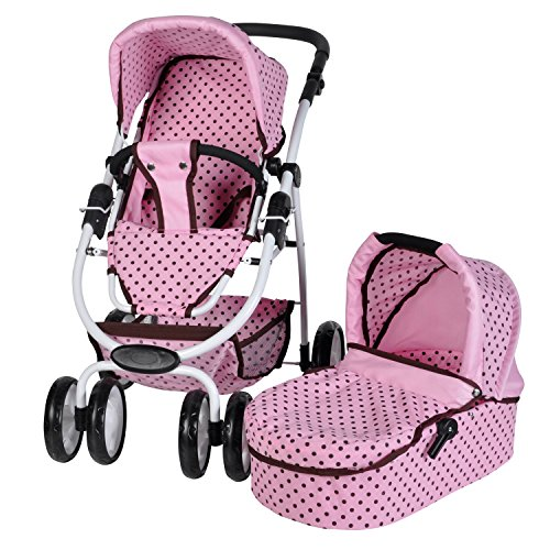 Knorrtoys 90789 - Puppenkombi Coco inklusive Puppenwanne - pink Mokka dots