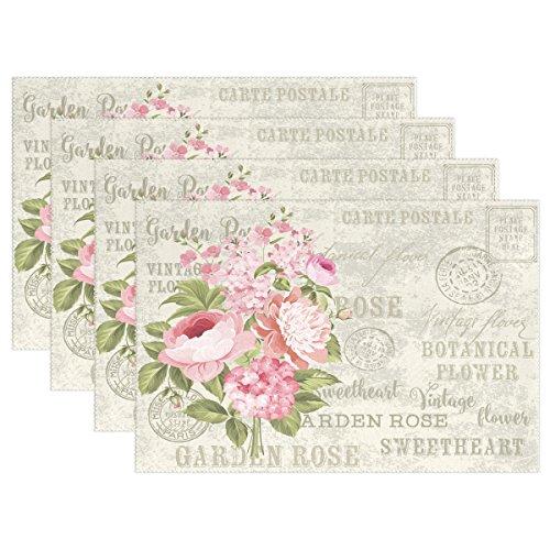 Use7 Shabby Chic Floral Tischset Tischset Tischset Vintage Blume 30,5 x 45,7 cm Polyester Tischset Tischset für Küche Esszimmer, Polyester, multi, Package Quantity: 4
