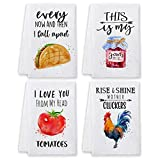 Bonsai Tree Funny Kitchen Towels and Dishcloths Sets of 4, Cute Quotes Dish...