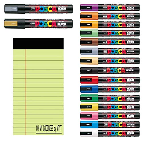 Mitsubishi Pencil UNI Posca Medium Character Round core 15 Colors Set + Medium Character Round core Gold( PC5M.25)+ Medium Character Round core Silver(PC5M.26)+OH My Goodness memo pad