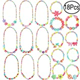 Hicdaw 18PCS Toddler Costume Jewelry Princess Necklace Bracelet Kit Gift for Girls Dress Up Pretend Play Party Favors (Style-01)