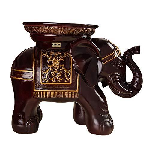 Reposapiés de Animales/Taburete de Mesa pequeño/Soporte de Maceta de Plantas/Decoración de pie/Taburete de Elefante de Nariz Enrollable de Estilo Europeo/Resina, Rojo Oscuro, 41 * 23.5 * 33cm