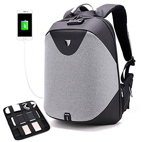 Arctic Hunter Design- Anti Theft Backpack,Waterproof Travel Backpack with Lock, Slim College School Computer Bag with USB Charging Port Fits 15.6' Laptop Notebook, Business Laptop Backpack