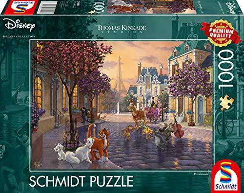 Schmidt Spiele 59690 Thomas Kinkade, Disney, The Aristocats, 1.000 Teile Puzzle, bunt