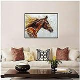 xinyouzhihi Arabian Horse Anna Sidi Yacoub Cartel de Pintura sobre Lienzo, Imágenes de Pared para Sala de Estar Decoración del hogar Impresión sobre Lienzo 60x80cm Sin Marco