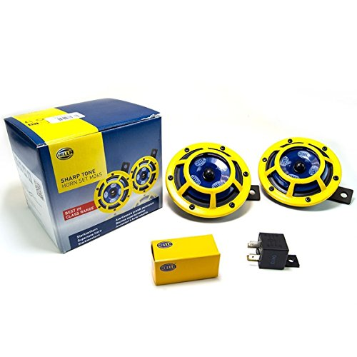 HELLA H31000001 Sharptone 12V High Tone / Low Tone Twin Horn Kit with Yellow Protective Grill, Includes Relay, 2 Horns