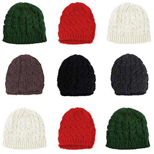 Gorro de punto para mujeres y niñas, cálido para el invierno, marrón, Large
