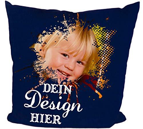 DRUCKREICH Kissen selbst gestalten, Fotokissen mit Wunschtext, Logo, Motiv, Foto, personalisiert (Navy, Mit Füllung)