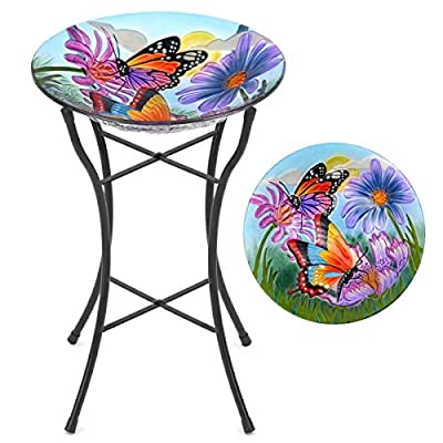 CHRISTOW Bird Bath Glass With Stand, Garden Gift, Outdoor Patio Decoration, Hand Painted, UV Resistant, (Non Solar, Butterfly) H50cm from Christow