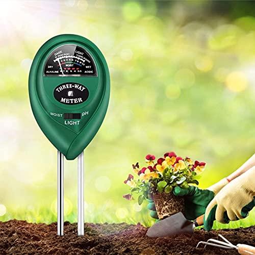 Rvister Bodentester,3 IN 1 Feuchtigkeit Meter/ph messgerät/Sonnenlicht,Prüfung Bodenfruchtbarkeit,Sonnenlicht und pH-Wert zu für Rasen Bauernhof Garten,Indoor Outdoor(kein Akku erforderlich)