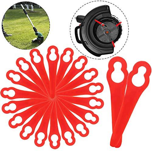 BETOY 20 pcs Rasenmäherklinge Ersetzen, Kunststoffmesser für Akku-Rasentrimmer , Ersatzmesser-Set Li Rasentrimmer-Zubehör, rot