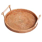 LUCY STORE Autumn Dessert Accommodated Small Round Woven Rattan Fruit Snacks Furniture Parts L, M, S (Size : M)
